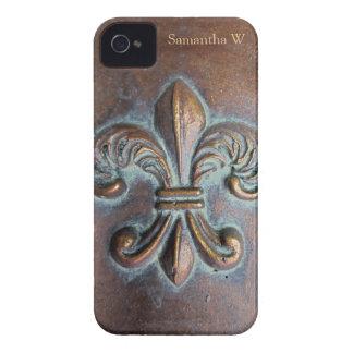 Fleur De Lis, Aged Copper-Look Printed iPhone 4 Cover