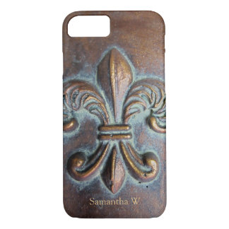 Fleur De Lis, Aged Copper-Look Printed iPhone 8/7 Case