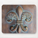 Fleur De Lis, Aged Copper-Look Printed Mousepads