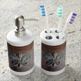 Fleur De Lis, Aged Copper-Look Printed Soap Dispenser And Toothbrush Holder