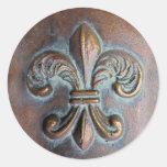 Fleur De Lis, Aged Copper-Look Printed Round Sticker
