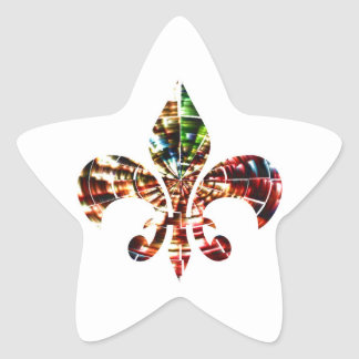 fleur-de-lis : Amazing Red Sparkle Design Star Sticker