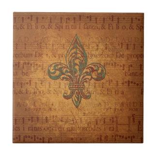 Fleur de lis and sheet music ceramic tile