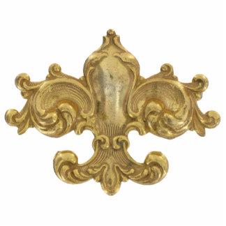 Fleur De Lis Antique Gold Photo Sculpture Decoration