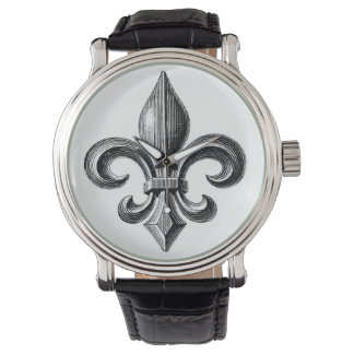 Fleur-de-Lis B&W Design Wrist Watch