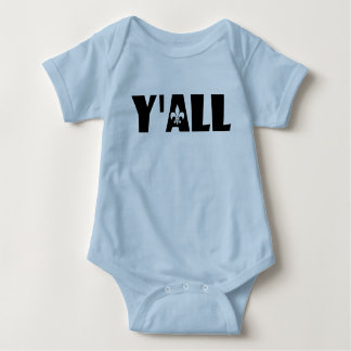 Fleur De Lis Baby or Toddler Y'all Attire Baby Bodysuit