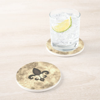 Fleur-de-Lis Bar | Sepia Tan Beige Brown Butterfly Coaster
