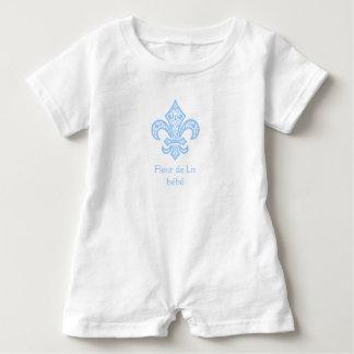 Fleur de Lis bébé™ Baby Bodysuit Romper White/Blue