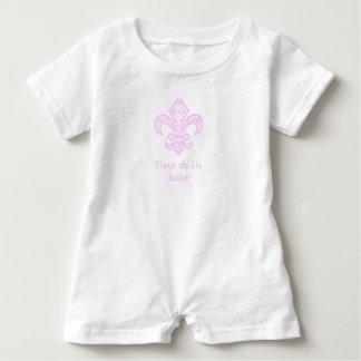 Fleur de Lis bébé™ Baby Bodysuit Romper White/Pink