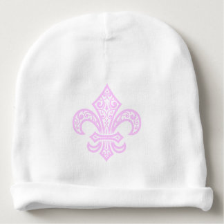 Fleur de Lis bébé™ Baby Hat, White/Pink Baby Beanie