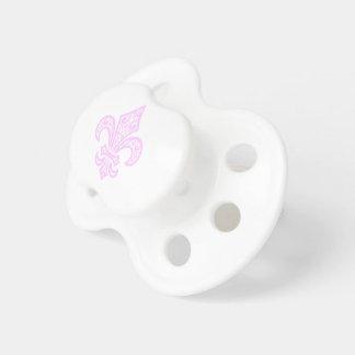 Fleur de Lis bébé™ Baby Pacifier White/Pink