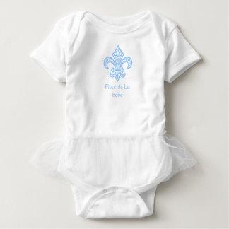 Fleur de Lis bébé™ Baby Tutu Bodysuit White/Blue