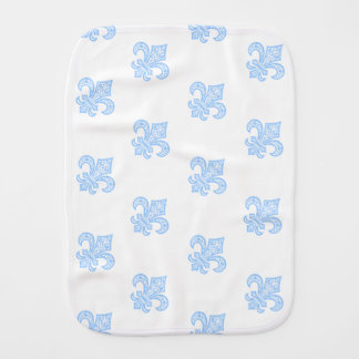 Fleur de Lis bébé™ Burp Cloth White/Blue