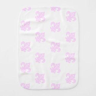 Fleur de Lis bébé™ Burp Cloth White/Pink