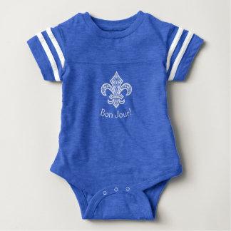 """Fleur de Lis bébé with """"Bon Jour!"""" Baby Bodysuit"""