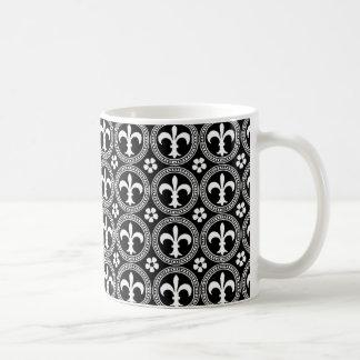 Fleur de Lis Black and White Circle Pattern Basic White Mug