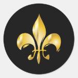 Fleur de Lis/black background stickers