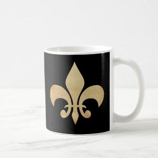 Fleur de Lis Black Coffee Mug