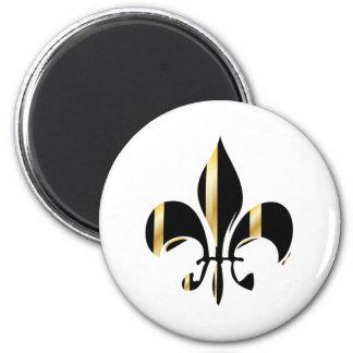 Fleur de Lis/black + gold 6 Cm Round Magnet