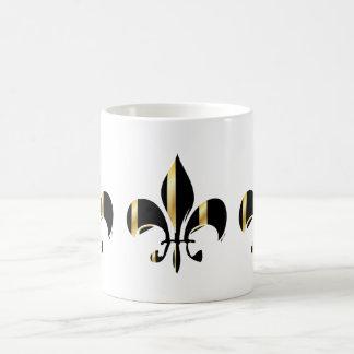 Fleur de Lis/black + gold Basic White Mug
