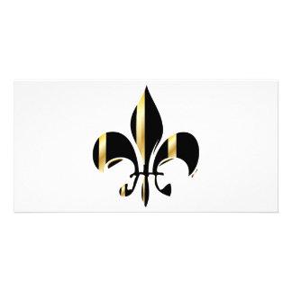 Fleur de Lis/black + gold Photo Card Template