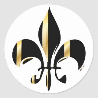 Fleur de Lis/black + gold Round Sticker