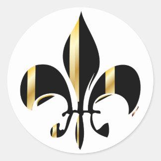 Fleur de Lis/black + gold Round Stickers
