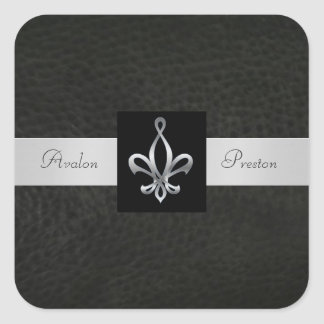 Fleur De Lis Black Leather Square Wedding Sticker