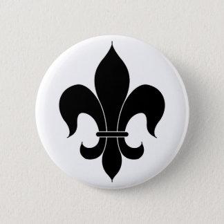 Fleur De Lis - Black - Lined 6 Cm Round Badge