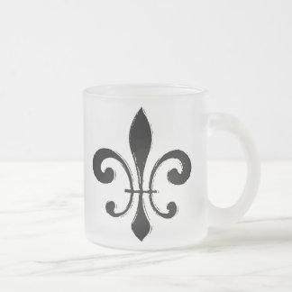 Fleur De Lis, Black Washout Frosted Glass Coffee Mug