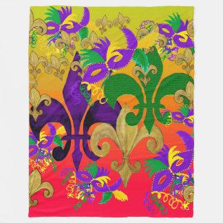 Fleur de lis blast Mardi Gras throw blanket