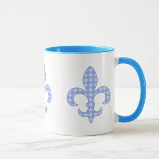 Fleur de lis Blue Gingham mug