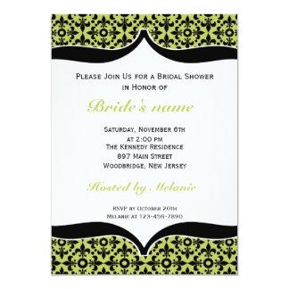 Fleur De Lis Bridal Shower Invitations-Green 13 Cm X 18 Cm Invitation Card