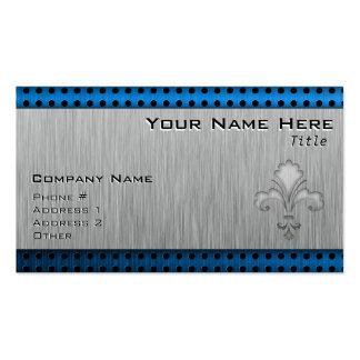 Fleur de lis Brushed metal-look Business Card Template