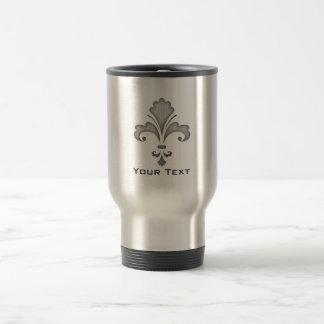 Fleur de lis; Brushed metal-look Stainless Steel Travel Mug