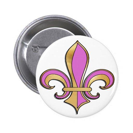 Fleur de Lis Button with Gold Trim