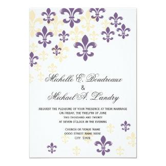 "Fleur de Lis Cascade Informal Wedding 1 5"" X 7"" Invitation Card"