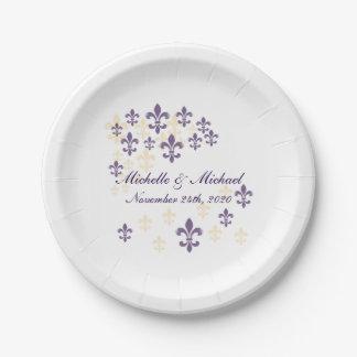 Fleur de Lis Cascade (purple yellow) 7 Inch Paper Plate