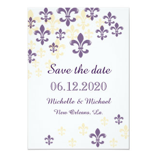 "Fleur de Lis Cascade Save the Date 5"" X 7"" Invitation Card"