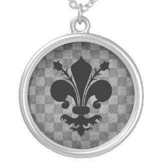 Fleur de lis checkerboard pattern silver plated necklace