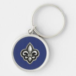 Fleur de Lis Cobalt Blue Key Ring