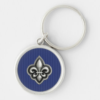 Fleur de Lis Cobalt Blue Silver-Colored Round Key Ring