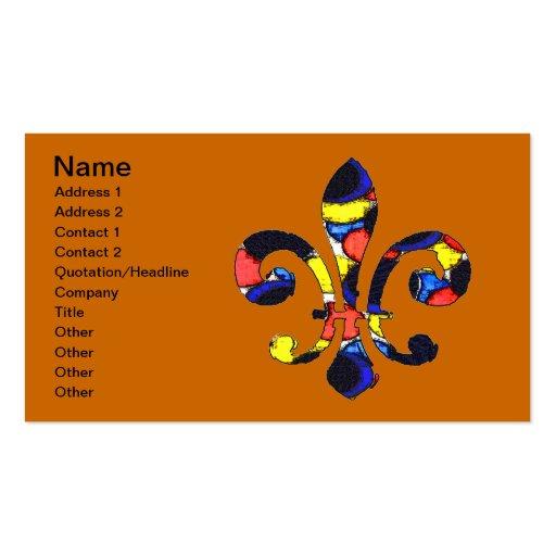 Fleur De Lis Color Bubbles, Business Card Template
