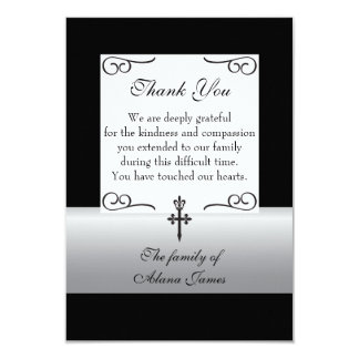Fleur De Lis Cross Sympathy Thank You Card