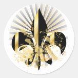 Fleur de Lis, customisable text Round Sticker