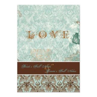"Fleur de Lis Damask – Modern Weddings Invitations 5"" X 7"" Invitation Card"