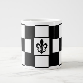 FLEUR DE LIS DESIGN CHECKERBOARD JUMBO COFFEE MUG