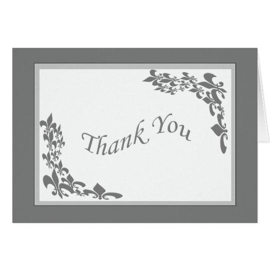Fleur de Lis Design Thank You (grey) Card