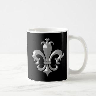 Fleur De LIs Fancy Silver Bevel Saints Classic Coffee Mug