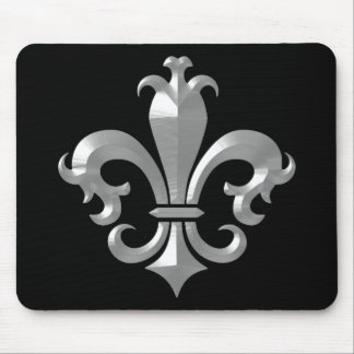 Fleur De LIs Fancy Silver Bevel Saints Classic Mouse Pad
